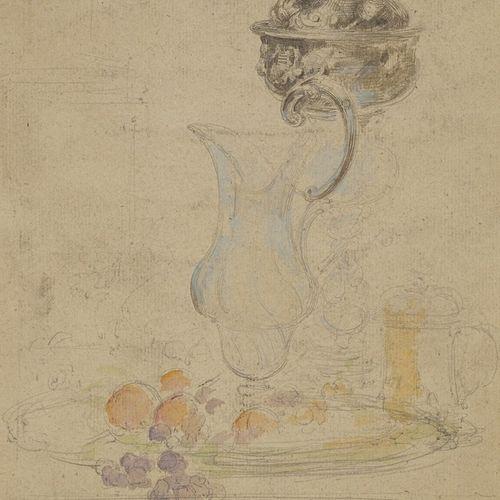 VOLLON Antoine, 1833 1900  Aiguière et fruits  aquarelle et mine de plomb (salis…