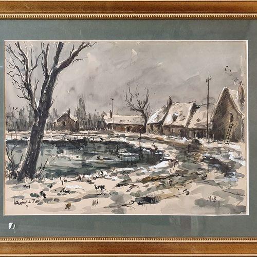 L.P. LAVOINE Robert (1916 1999)  Paysage d'hiver, 1948  Aquarelle avec rehauts d…