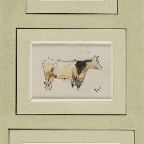 VOLLON Antoine, 1833 1900  Vaches et meules Paysage  quatre dessins aquarellés d…