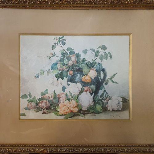 COLIN LIBOUR Uranie Alphonsine (1833 1916)  Fleurs  Trois aquarelles, chaque sig…