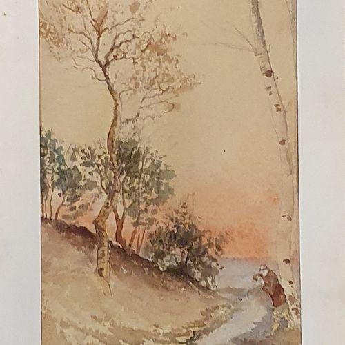 JEANNOLLE H (XIX XXème)    Vue de rivière au crépuscule,  Aquarelle papier signé…