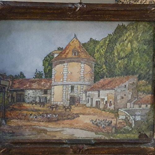 DELESTRE Eugène (1862 1919)  Cour de ferme à Sailly, 1913  aquarelle sur tissu m…