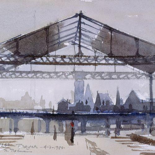 PREKAS Paris (1926 1999)  La gare de Troyes, 4 3 1980  Aquarelle signée, située …