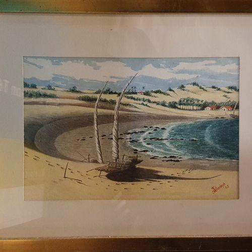 BARBOSA JS (XIX XXeme)  Plage, 1965  Aquarelle sur papier, signé et daté en bas …