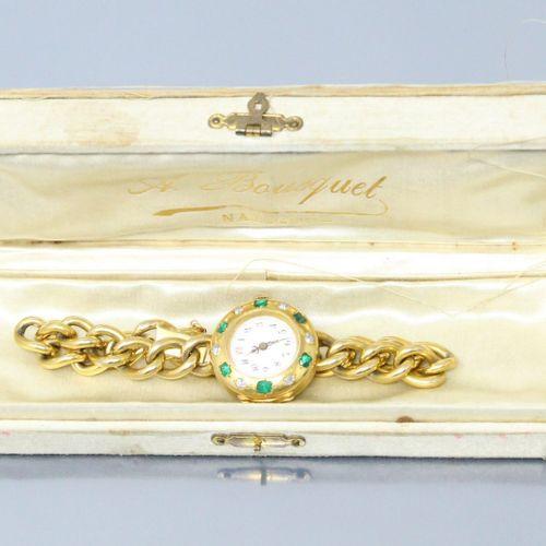Montre de col transformée en bracelet, boîtier rond en or jaune 18k (750), cadra…