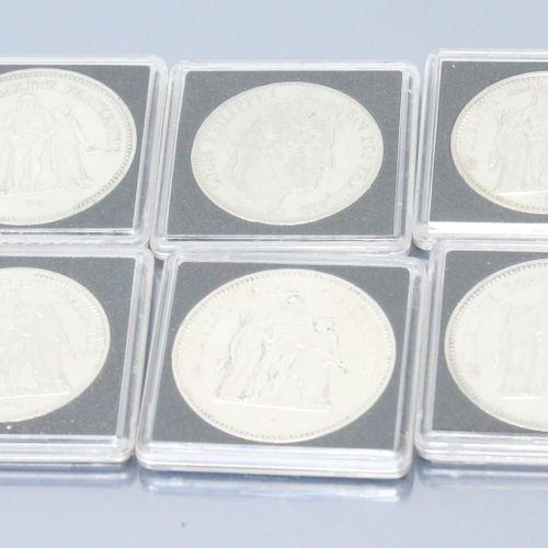 Ensemble de pièces en argent de type Hercule :   5 F Louis Philippe I 1841 BB (a…