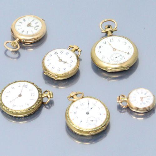 Lot de six montres de col en or jaune 18k (750) dont une Longines.  Diamètre : 1…