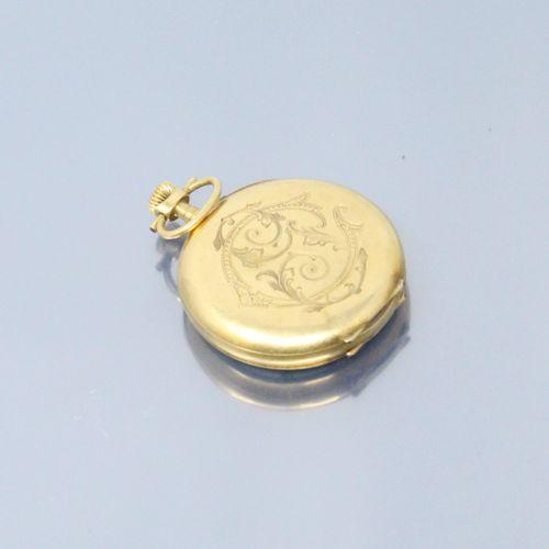 Débris de montre de gousset en or jaune 18K (750). Cadran émaillé à fond blanc, …