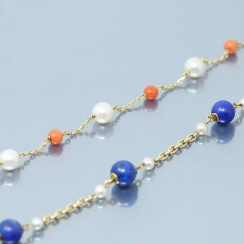 Lot de trois bracelets en or 18K (750) composés d'une chaîne à maille forçat pon…