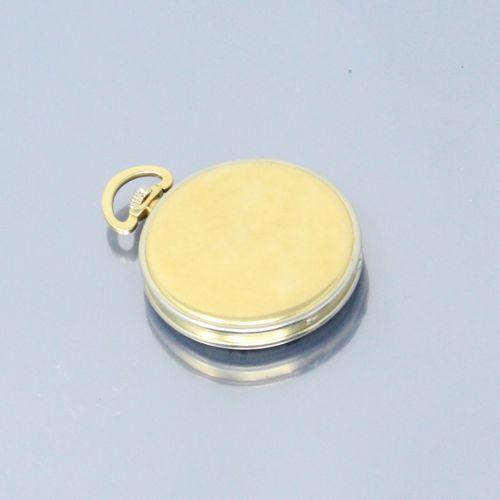 MOVADO SUIZA  Montre de gousset en or jaune 18k (750), cadran à fond émaillé bla…