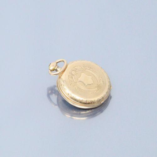 Montre de gousset en or jaune 18K (750), cadran a fond émaillé blanc, chiffres r…