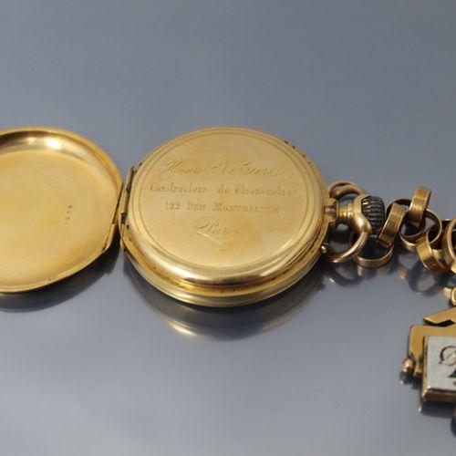 Montre de gousset en or jaune 18k (750), cuvette chiffrée MV, index chiffres rom…
