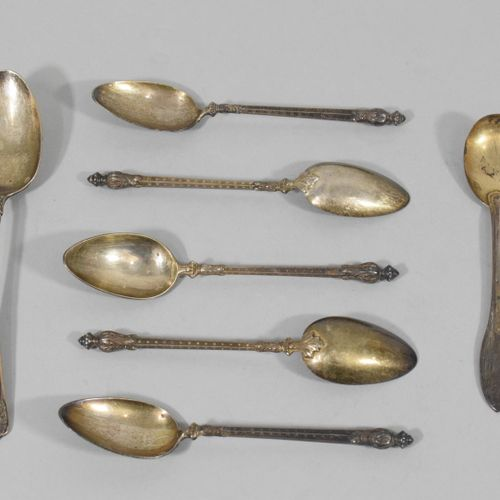 Set of seven small silver spoons (Minerve) :   five Russian style, Granvigne gol…