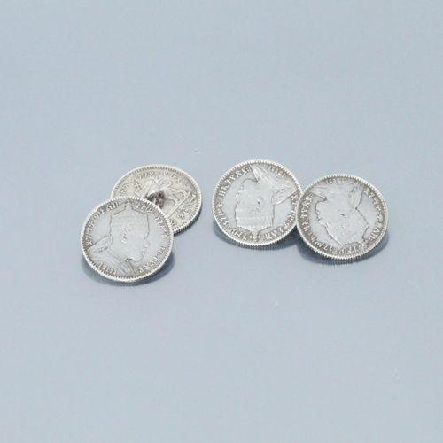 Paire de boutons de manchettes ornés de pièces éthiopiennes en argent.  Poids br…