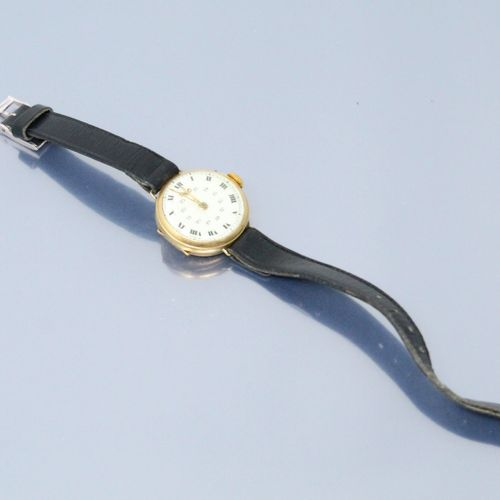 Montre de gousset montée en bracelet, boîtier rond en or jaune 18k (750), cadran…