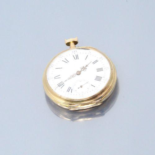 Débris de montre gousset en or jaune 18k (750), cadran à fond émaillé blanc (acc…