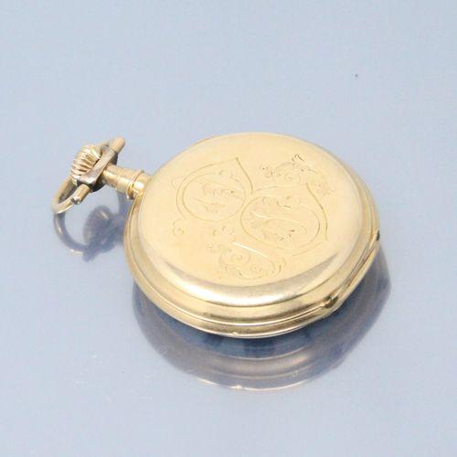 LIP  Montre de gousset en or jaune 18k (750), cadran à fond émaillé blanc, chiff…
