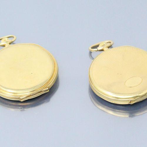 ELECTION & ETERNA  Lot de deux montres de gousset en or jaune 18k (750). Une mon…