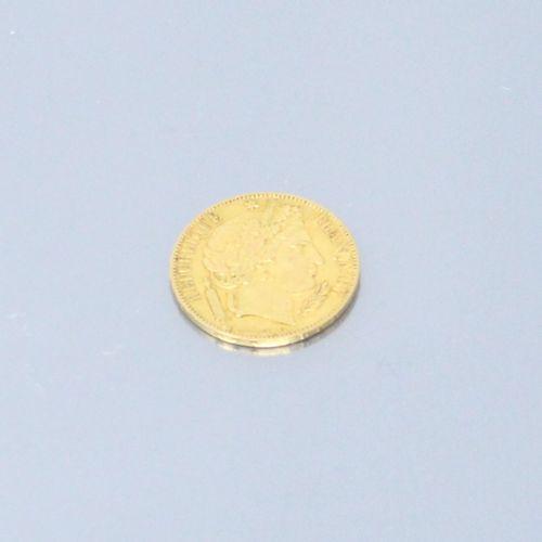 """Pièce en or de 20 francs """"Cérès"""" (1849 A)  TTB à SUP.  Poids : 6.45 g."""