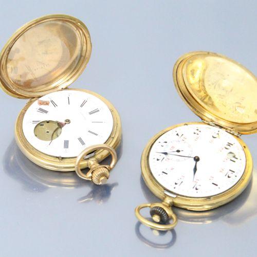 Débris de montre de gousset en or jaune 18k (750).  Diamètre : 53 mm pour les de…
