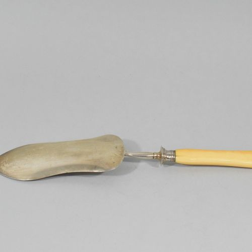Silver fish shovel (Minerva) with Rocailles decoration. Goldsmith's mark (DM wit…