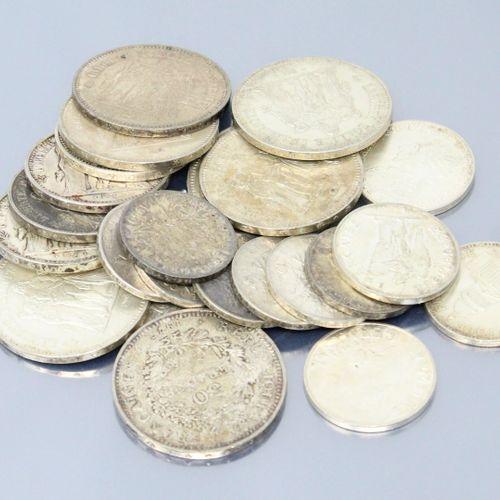 Lot de pièces en argent comprenant :   6 x 50 Francs Hercule 1976,1977x3, 1978x2…