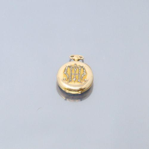 Montre de gousset en or jaune 18k (750) , cadran à fond blanc émaillé, chiffres …
