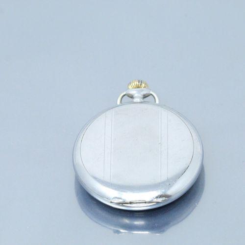 LIP  Montre de gousset en métal argenté, cadran à fond argenté, chiffres arabes …