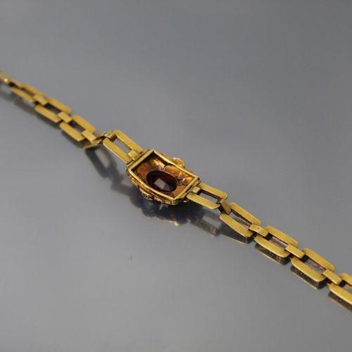 Bracelet en or jaune 18K (750) maille à anneaux rectangulaires ciselés de rincea…