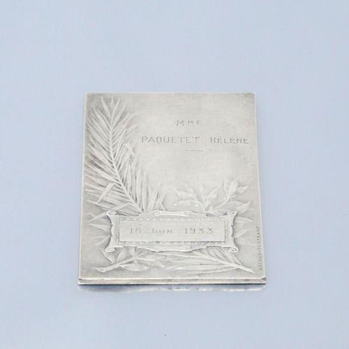 Médaille de table rectangulaire en argent. Association sténographique unitaire. …
