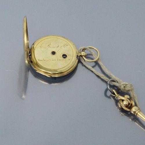 Montre de gousset en or jaune 18k (750), cadran émaillé à fond blanc (acc.), chi…