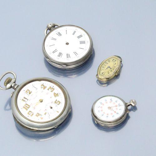 Lot de débris de montres de gousset en argent et un boîtier de montre bracelet e…