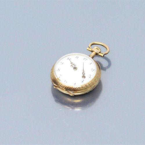 Montre de col en or jaune 18k (750). Cadran à fond blanc aux chiffres arabes pou…