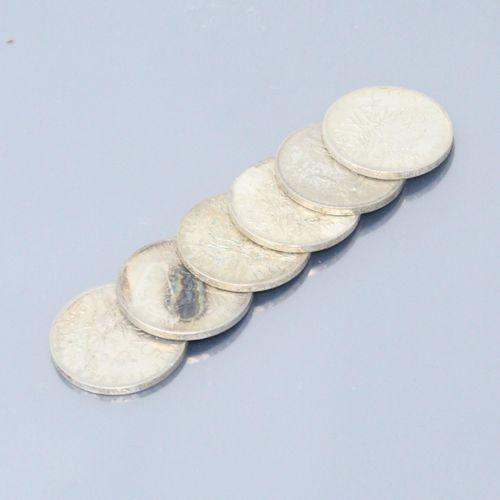 Lot de 6 pièces en argent de 5 francs Semeuse (1960 x 3; 1961; 1962; 1963)  Poid…