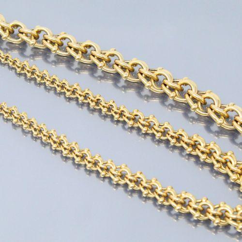 Demi parure en or jaune 18 k (750) composée d'un bracelet ainsi qu'un collier.  …