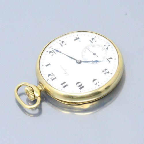 LONGINES  Montre de gousset en or jaune 18k (750). Cadran à fond émaillé blanc, …