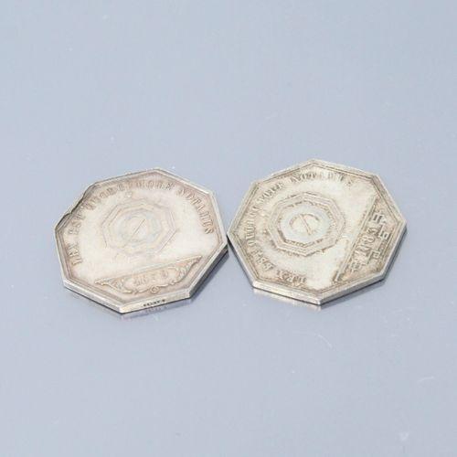 Deux jetons octogonaux en argent des Notaires de LYON. 1839 & 1883  Avers : code…