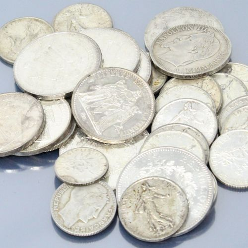 Lot de pièces en argent :   15 x 5 Francs Semeuse 1960x7, 1963x3, 1964x2, 1965, …