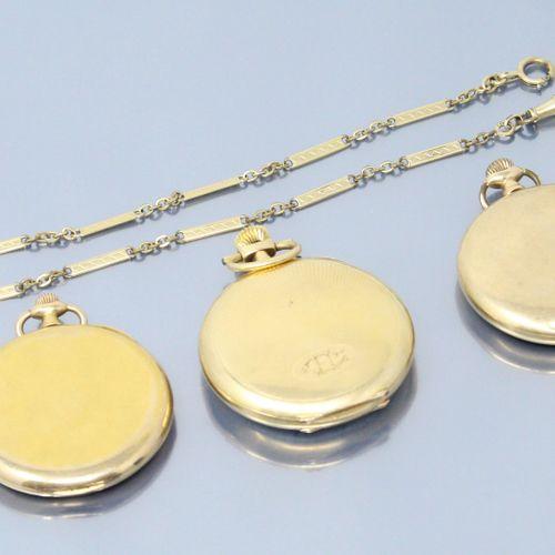Lot de trois montres de gousset en or jaune 18k (750) et 14k (585).  Diamètre : …
