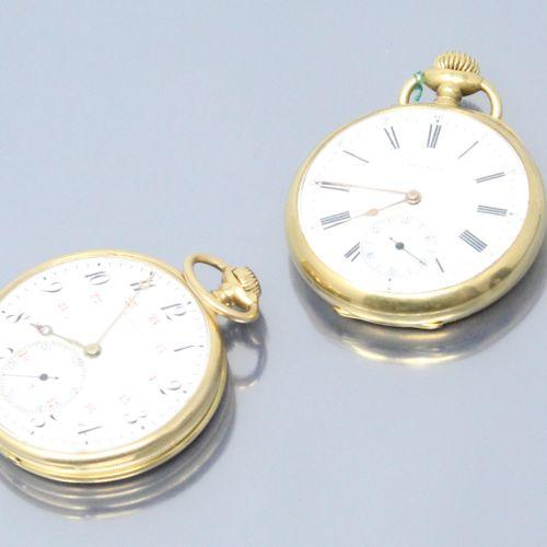 LEROY & Fils  Lot de deux montres de gousset en or jaune 18k (750).  Cadrans à f…
