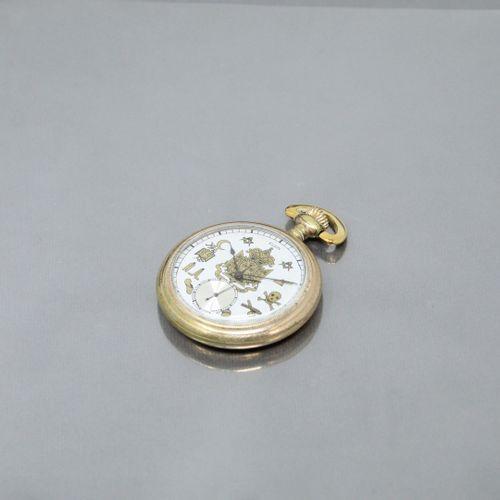 ELGIN  Montre de gousset en métal doré, cadran à fond blanc orné de symboles maç…