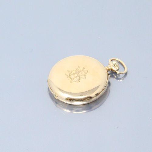 GUSTAVE SANDOZ  Montre de gousset en or jaune 18k (750), cadran à fond émaillé b…