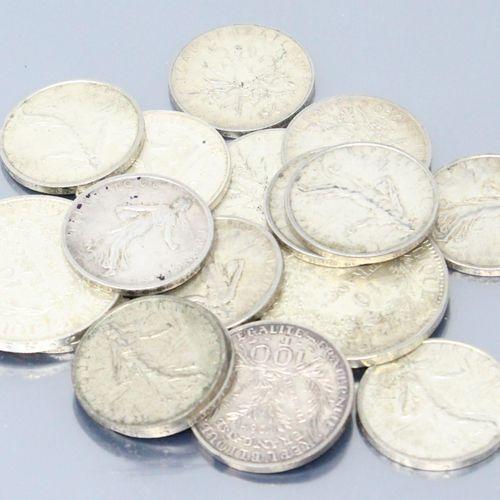 Lot de pièces en argent comprenant :   2 x 10 francs Hercule (1965 x 2)   13 x 5…