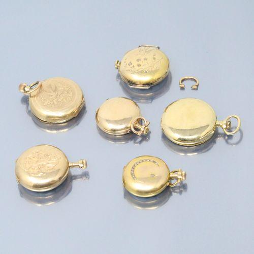Lot de six montres de col en or jaune 18k (750)  Diamètre : 29, 27, 22, 25, 21 e…