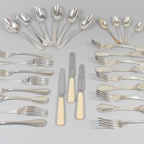 Set of silver plated flatware including six spoons, seven forks, three knives, t…