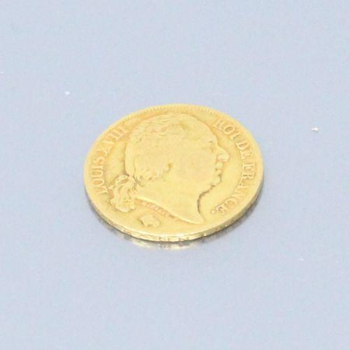 Pièce en or de 20 Francs Louis XVIII Buste nu (1819 A).  TTB  Poids : 6.45 g.