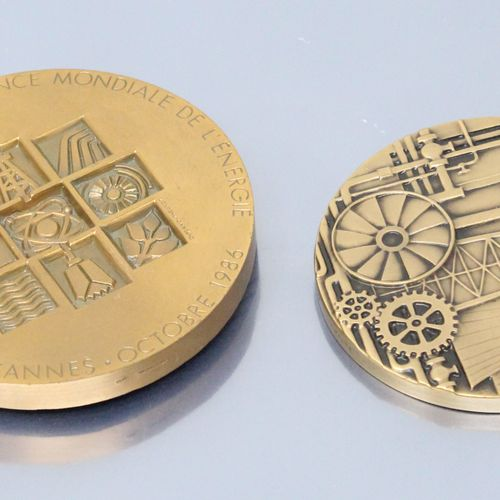 Deux médailles de table en bronze :   d'ap. Durand Mégret, treizième congrès de …