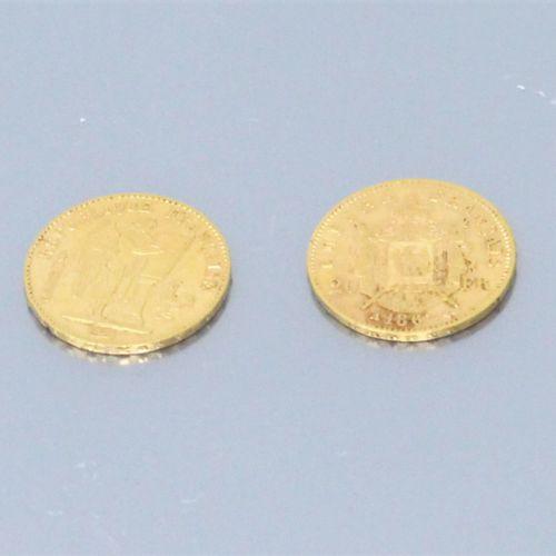 Lot de deux pièces en or comprenant :   1 x 20 francs Napoléon III tête nue (186…