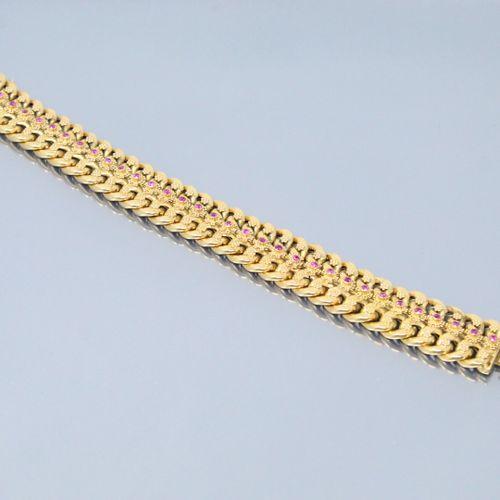 Bracelet en or jaune 18k (750) à double maille gourmette et orné de rubis synthé…