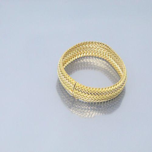 Bracelet en or jaune et rose 18k (750).  Poinçon de maître.  Poinçon tête de rhi…